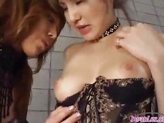 2 Hot Asian Girls In Sexy Lingerie Sucking Each Other Nipples Patting On The Mattress In The Basement